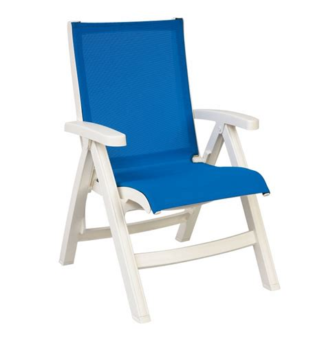 blue grosfillex belize midback folding sling chair with