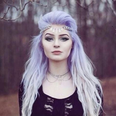 Pretty Hipster White And Light Purple Hair Image