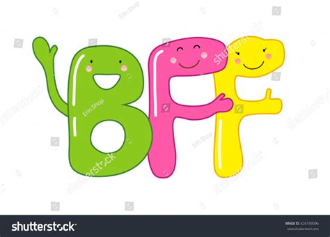 we sign our cards and letters bff smiling characters letters bff stock vector 50002