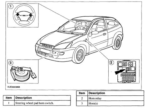 ford focus horn location diagram ford auto parts