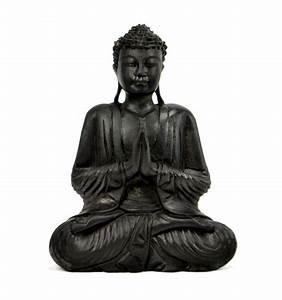 Statue De Bouddha : statue bouddha assis mains jointes anjali mudra en bois h30cm noir ~ Teatrodelosmanantiales.com Idées de Décoration