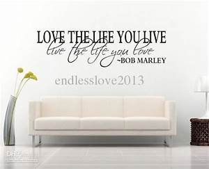 Bob marley quote wall decal decor love life wall sticker for Nice white wall decal quotes