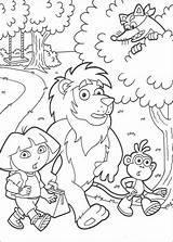 Dora Swiper Coloring Lion Boots Exlorer Hellokids Explorer sketch template