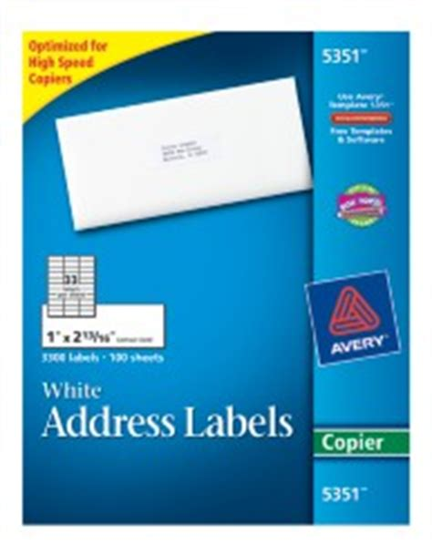 Avery 5351 Label Template by White Mailing Labels 5351