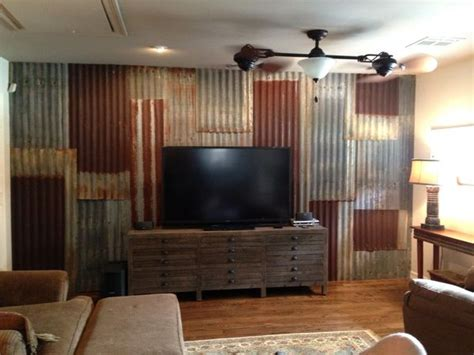 corrugated tin backsplash island w barn red cabinets