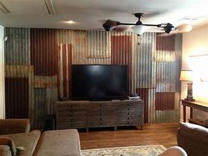 corrugated tin backsplash island w barn red cabinets With what kind of paint to use on kitchen cabinets for corrugated metal wall art