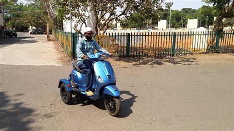 handicapped vespa scooter modified by bajee and sons ph no 9848458025