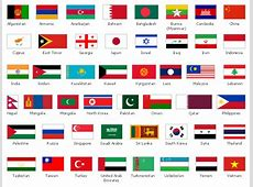 Design elements Asia flags Asian country flags
