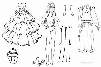 Doll Paper Coloring Pages Dolls Printable Template