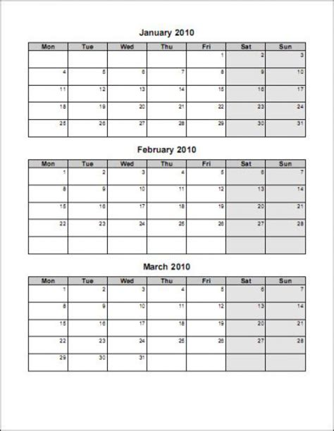 Calendar Template 3 Months Per Page by Print 3 Month Calendar On One Page Calendar Template 2018