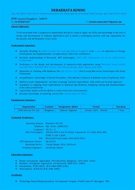 asp net mvc developer resumeasp mvc developer resume sle