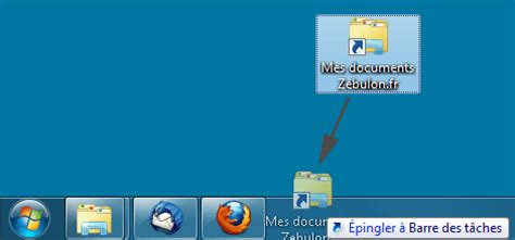 supprimer raccourci bureau epingler un dossier à la barre des tâches de windows 7