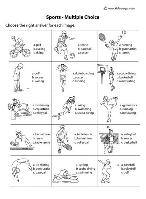 sports worksheets for elementary homeshealth info