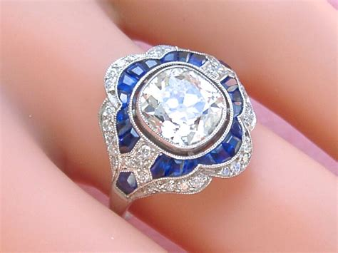 art deco 2ct old mine cushion diamond sapphire platinum engagement cocktail ring ebay