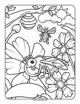 Bee Coloring Adult Printable sketch template