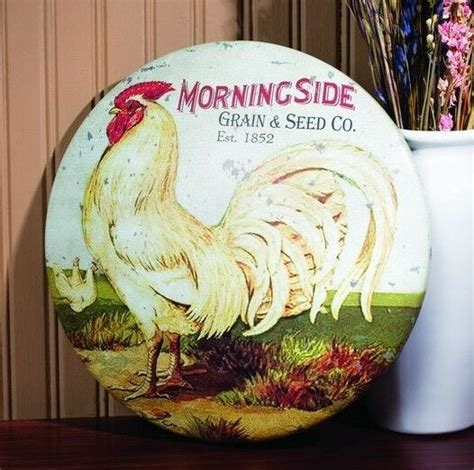 Rooster Round Tin Sign Vintage Prim Country Farmhouse