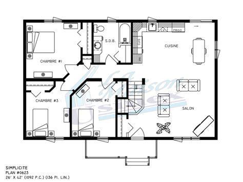 3 Bedroom House Floor Plan by Simplicit 233 Maisons Usin 233 Es Et Pr 233 Fabriqu 233 Es Par Maison