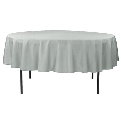 "Economy Polyester Tablecloth 90"" Round Silver CV Linens"