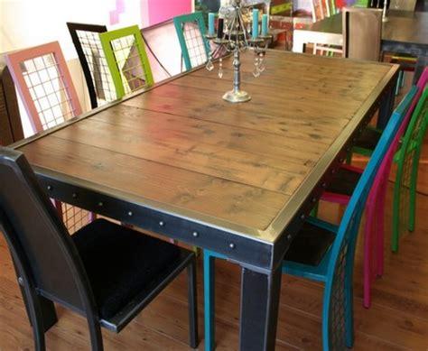 fabrication table en bois table salle 224 manger bois et bords m 233 tal table salle 224 manger design m 233 tal