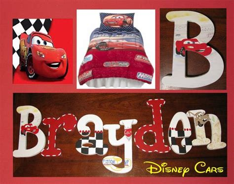 Disney Pixar Cars Hand Painted Boys Wooden Wall Letters