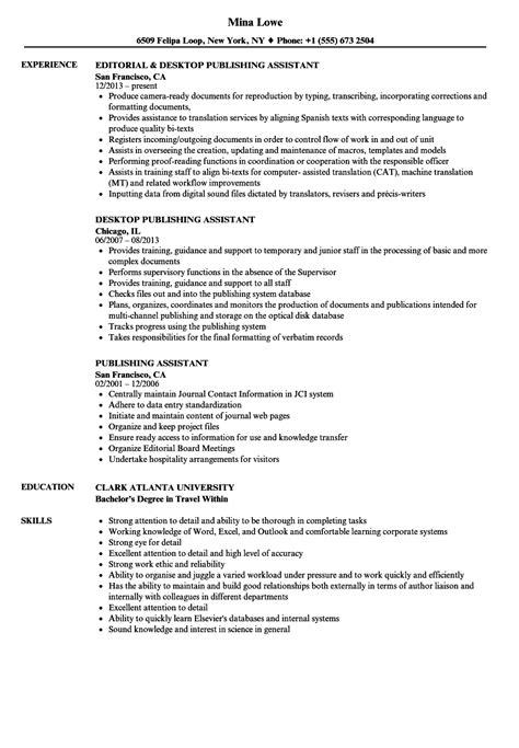 Publications On Resume by Publishing Assistant Resume Sles Velvet