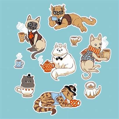 Stickers Sticker Cats Tea Postcard Teacup