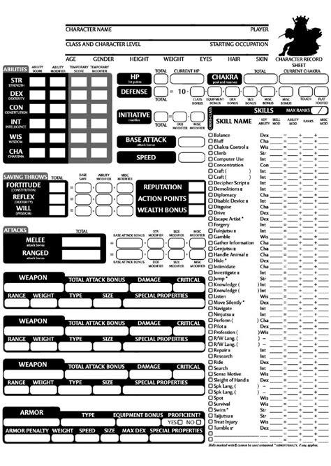 naruto  character sheet character sheet dnd