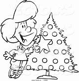 Outline Tree Decorating Christmas Coloring Clipart Cartoon Vector Trimmer Pages Happy Template Clipground sketch template