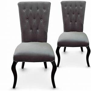 Chaise Velours Capitonnée : chaise capitonn e velours gris barocco lot de 2 ~ Teatrodelosmanantiales.com Idées de Décoration