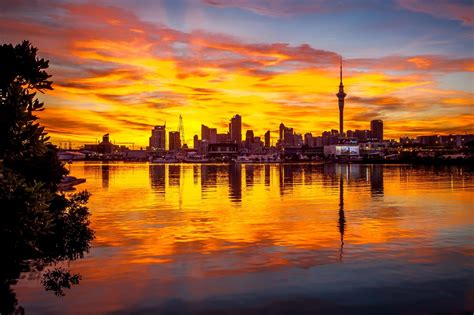 glorious auckland city sunset