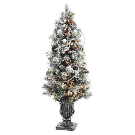 prelit battery operated potted christmas tree 5 ft battery operated snowy silver pine potted artificial tree with 50 clear led