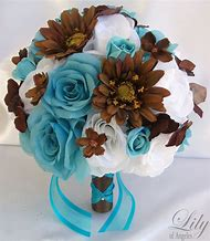 Brown and Turquoise Wedding Flowers