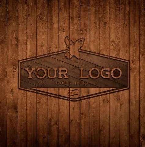 Exclusive and free mockups for your presentations and ui tools. Free Wood Logo MockUp/Template PSD