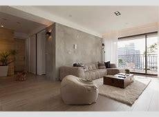 Concrete feature wall living room Interior Design Ideas