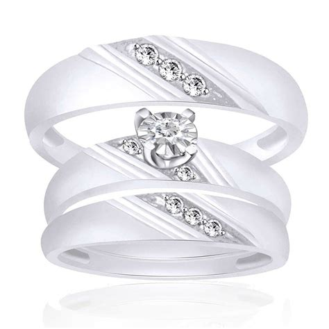 10k white gold his and hers mens womens engagement wedding ring trio ebay
