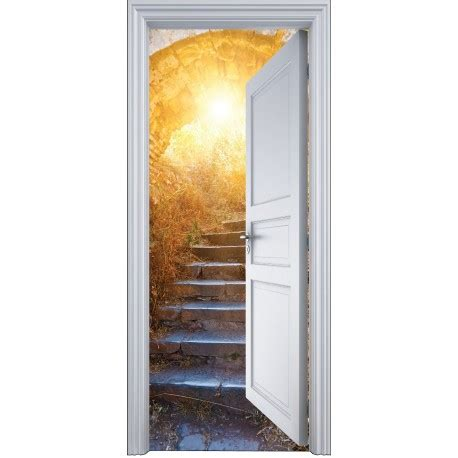 trompe l oeil escalier sticker porte trompe l oeil mont 233 e escalier ensolleill 233 e 90x200cm stickers autocollants
