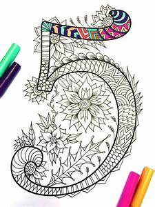 Number 5 zentangle inspired by the font harrington by for Musica para crear mandalas