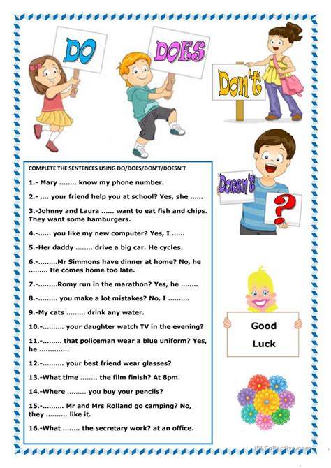 do does don t doesn t worksheet free esl printable