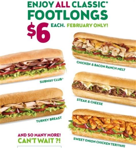 subway  classic footlongs  february  coupon project
