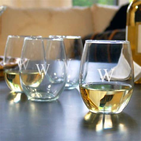 Monogram Barware by Monogrammed Stemless Wine Glasses Gift Set