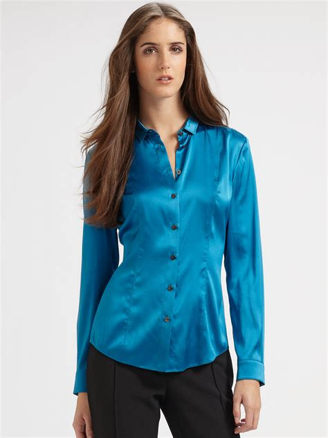 blue blouses burberry silk blouse in blue kingfisher blue