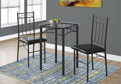 black metal and glass 3 piece dining room 1000 monarch