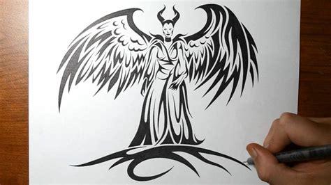 draw maleficent tribal tattoo design style youtube