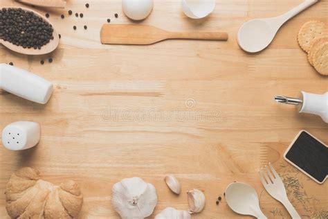 Top View Kitchen Mockup,Rural Kitchen Utensils On Wooden