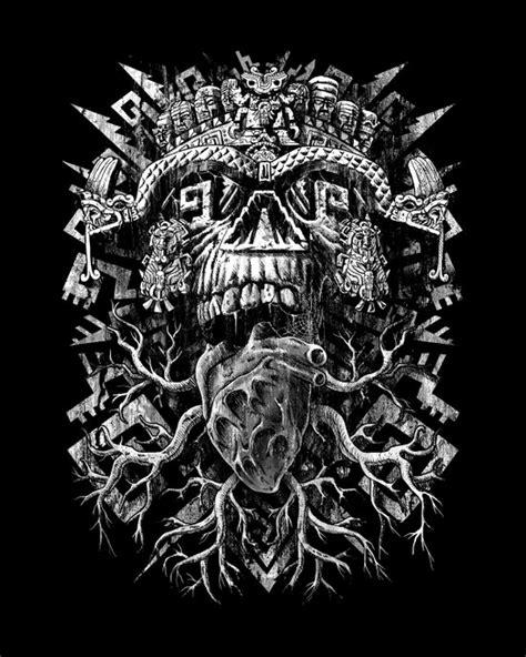 Aztec Skull Art Print Jorge Garza Society