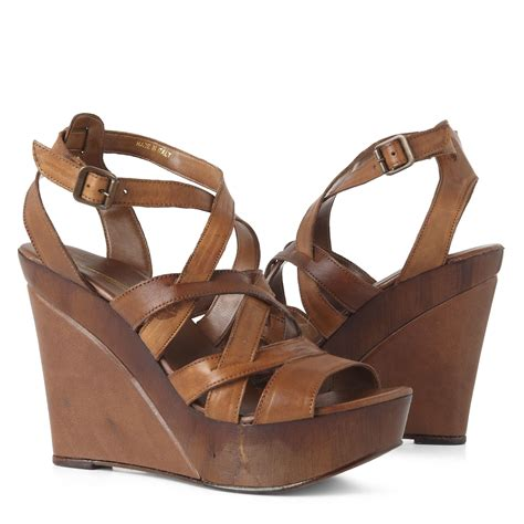 Wedges Connexion Ycw79 connection dahlia wedge sandals in brown lyst