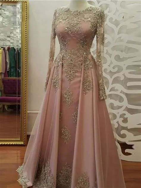 2018 A Line Prom Dresses Scoop Long Sleeve Pink Applique