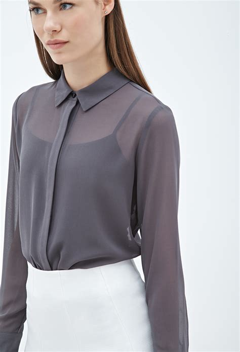 chiffon blouses forever 21 collared chiffon blouse in gray grey lyst