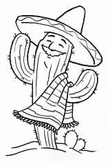 Coloring Cinco Mayo Celebrate Fiesta Mexican Cactus sketch template