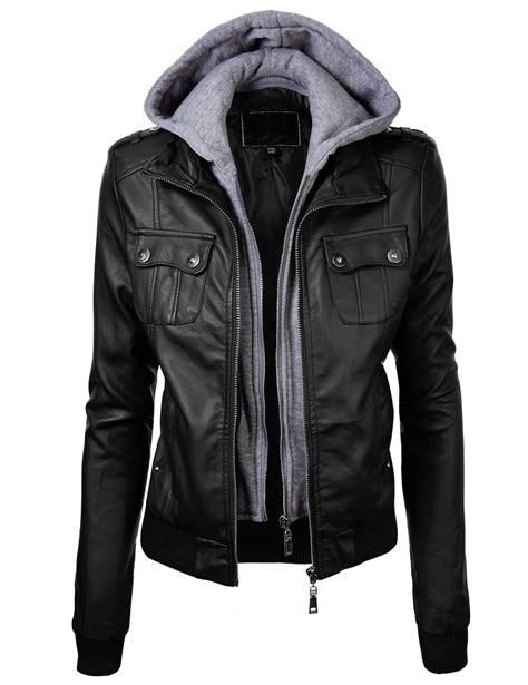 leather apparel lock and love women 39 s double hoodie faux leather jacket l
